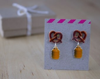 Pretzels and Mustard Dangly Stud Earrings