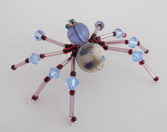 Blue, Red Beaded Spider