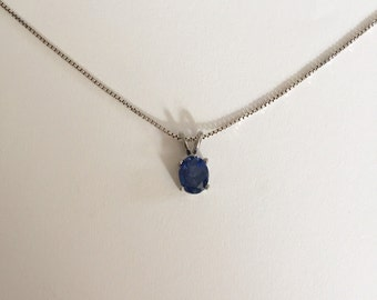 Vintage Synthetic Tanzanite 925 Sterling Silver Pendant Necklace