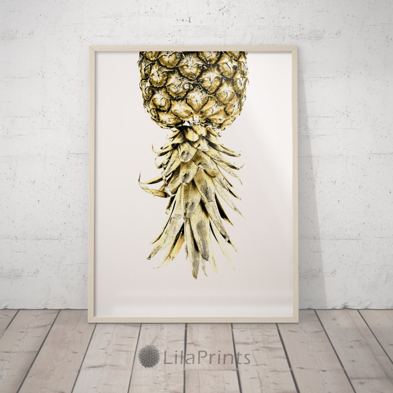 Art Prints For Kitchen Wall: Kitchen Wall Decor Pineapple Print Gold Print Art Pineapple