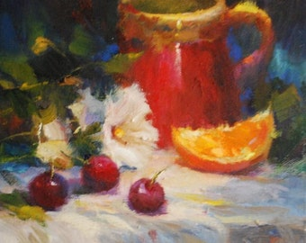 Original Oil Painting Canvas Frankie Johnson Cherries Oranges Daisy Coffee Mug Daily Painter Red Mug Still Life Small Tiny Impressionism