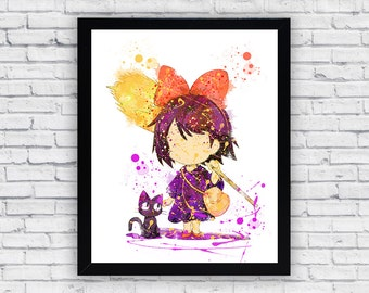 Kiki's Delivery Service watercolor Print Art, Kiki Home Decor, Kiki Wall Decor, Kiki Wall Art, Kiki poster