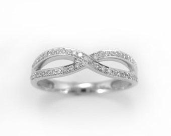 Diamond Infinity Ring, Diamond Infinity Knot Ring, Diamond Wedding Band, Diamond Engagement ring, 18k White Gold Infinity Knot Diamond Ring
