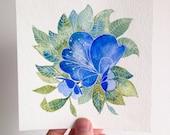 "5"" x 5"" ORIGINAL Floral Watercolor Painting"