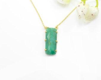 Emerald Necklace, Emerald Pendant, Emerald Gold Necklace, Emerald Silver Pendants, Gold Gemstone Necklaces, Emerald SilverCharm Necklace