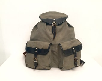 70s hiking canvas leather strap backpack