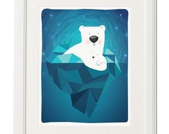 Mama bear-Instant download-Wall art-Baby-Nursery-Printable illustration-Original drawing-Digital file-Winter decor-Gift