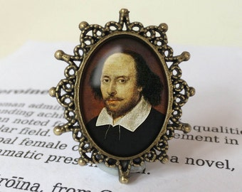 Shakespeare Brooch - Antique Silver or Vintage Bronze, Literary Jewelry, Gift For Reader, Bibliophile Brooch, William Shakespeare Jewellery