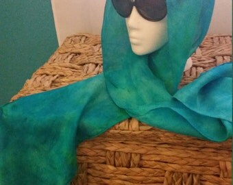 Hand dyed, turquoise, silk scarf. 8 x 72 inches
