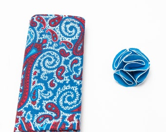 Wedding Lapel Pin, Mens blue Flower Lapel Pin with white trim and Paisley pattern pocket square, Suit accessory, wedding accessory