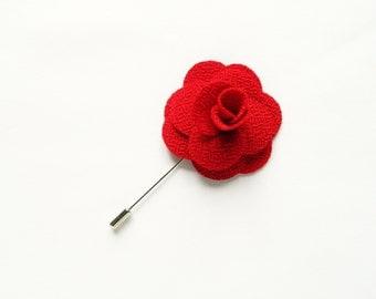 Men's Red Flower Lapel Pin Wedding Boutonniere Wedding Lapel Pin groomsmen lapel pin