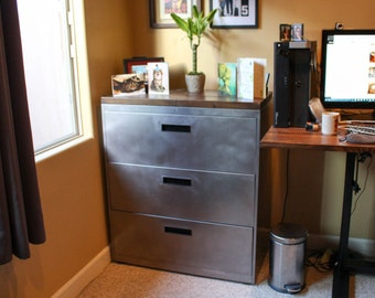 Refinished 3 Drawer Metal Filing Cabinet / Dresser with Solid Wood Top / Office Storage / Cabinet Rustic Industrial