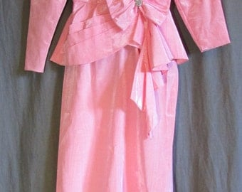80s Light Pink Taffeta Jacket and Skirt Set with Rhinestones and Bow | Size 0-2 XS Extra Small