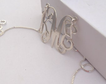 Silver Monogram Necklace: 1 inch - Personalized Monogram - 925 Sterling Silver - initial necklace  - silver personalized