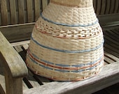 Summer Sky - Large rattan cane lampshade hand woven with blue and red details gives a wonderful diffused light