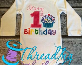 Embroidered First Birthday Shirt, First Birthday Boy, First Birthday Girl