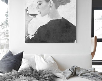 Large Canvas Art - If I had a Million - Luxury Wine Vogue Fashion Illustration - Black and White Vintage Style - Wall Decor Elegant Chic