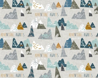Adventure Awaits Mountain Woodland Quilting Fabric. Fabric by the Yard. Cotton Jersey Knit Minky Camp Forest Mountains Nursery Boho Arrow