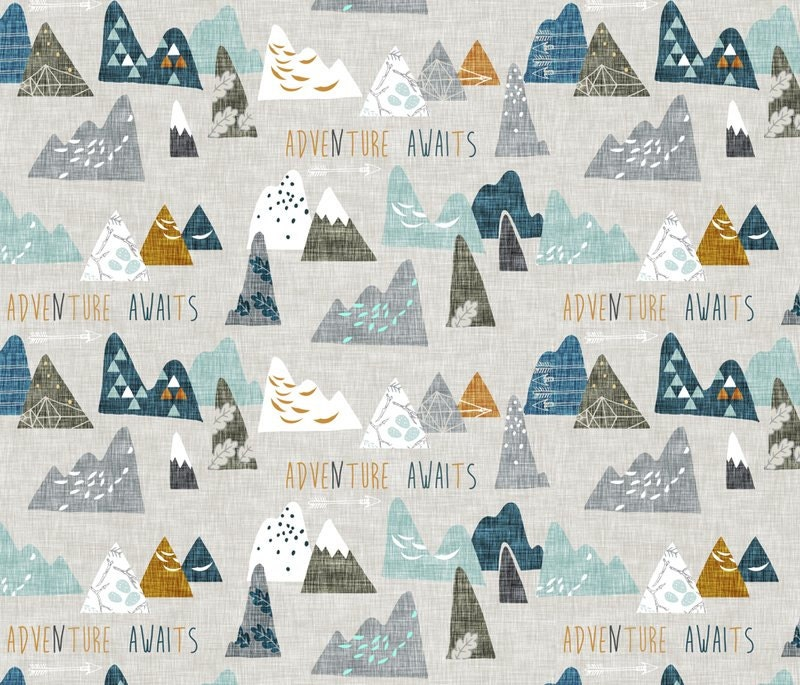 Adventure Awaits Mountain Woodland Quilting Fabric Fabric By