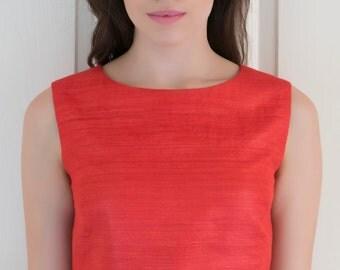 Carnelian Red Raw Silk Crop Top