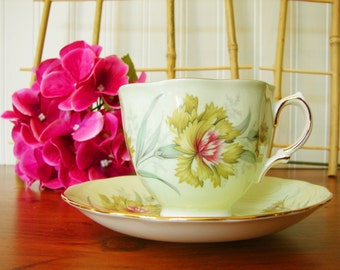 Colclough China Cup and Saucer, Green Carnation, Ridgway Potteries England, Pale Green, Teacup, Tea Ware, 1960's, Bone China, English
