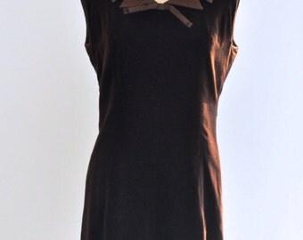 1960s FRENCH dress/Vintage dress/Retro dress/Velvet dress