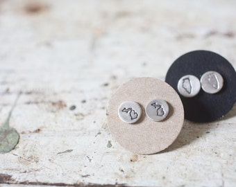 State Earrings Sterling Silver State Earrings State Studs Tiny State Jewelry State Love Studs State Love Earrings Gifts for Her