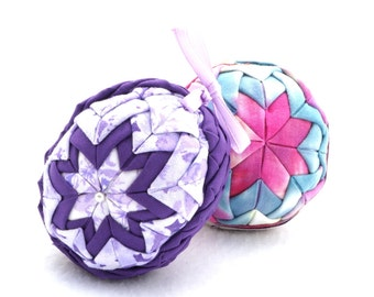 Purple Home Decor - Quilted Easter Egg - Folded Fabric in Purples and Lavenders