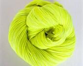 volt / hand dyed yarn / fingering sock dk bulky yarn / super wash merino wool yarn / single or ply / choose your base / neon yellow yarn
