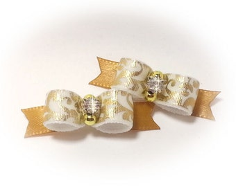 Dog Bows, Gold Pet Bows, Fancy