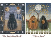Halloween! The Bewitching Mrs. B -or- Trick or Treat. New England style autumn/fall black cat, pumpkin, scarecrow art prints by Donna Atkins