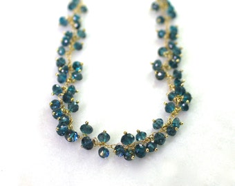 Modern London Blue Topaz Cluster Necklace in 14kg fill....