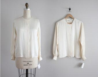 pearl silk blouse | ivory silk top | long sleeve silk blouse