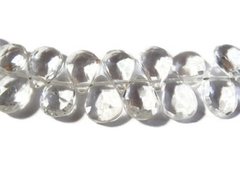 30 White Topaz Beads, Four Inch Strand of Clear Gemstones, 8mm x 5mm, About 30 Natural Gemstones for Making Jewelry (B-Wt2)
