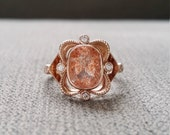 "Sunstone Diamond Bohemian Victorian Engagement Ring Antique Rose Gold 14K Filigree Floral Stacking Wide PenelliBelle Exclusive ""The Chloe"""