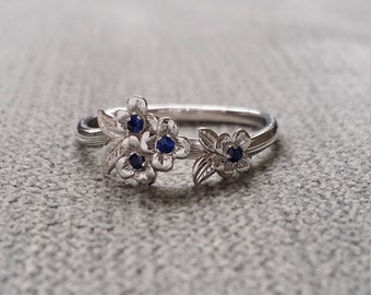 Blue Sapphire Gold Flower Engagement Ring Delicate Floral Wedding Bridal Band Dogwood Blossom White 14K Gold Cluster Anniversary Branch