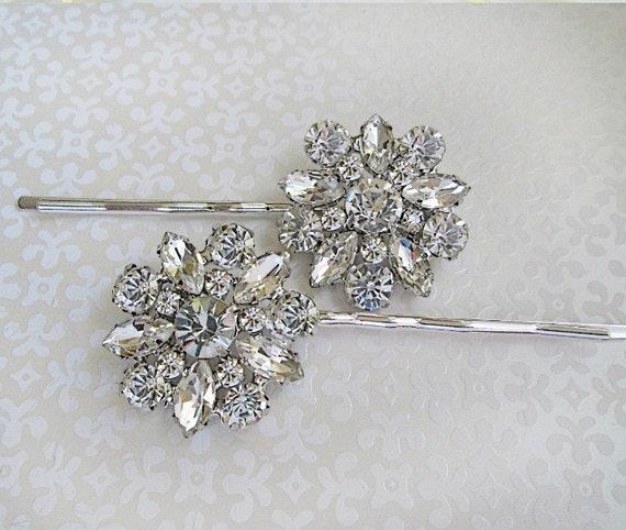 2 Wedding Hair Pins, Crystal bobby pins,  Bridal Accessories, silver hair clips, wedding hair piece, rhinestone hair pins, Bridesmaids gifts