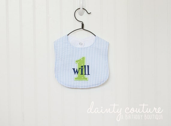 Boys First Birthday Bib  - Personalized bib - Cake smash bib - Cake smash outfit - Navy and green