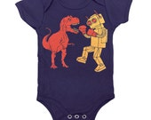 Dinosaur vs Robot Onesie - Baby Infant One Piece Funny Awesome SciFi Geek Trex Boxing Dino Monster Battle Bodysuit Romper Navy Blue Jumper