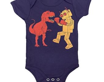 Dinosaur vs Robot Onesie - Baby Infant One Piece Funny Awesome SciFi Geek Trex Boxing Dino Monster Battle Bodysuit Romper Navy Blue Jumper