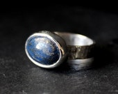 Oval Lapis Lazuli Sterling Silver Ring | Textured Hammered Band | Pyrite Inclusions 14mm x 10mm | GUGMA Women's Minimalist Handmade Jewelry