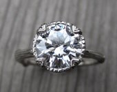 Moissanite Branch Engagement Ring: White, Yellow, or Rose Gold; 2ct Forever Brilliant™