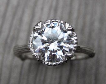 Moissanite Branch Engagement Ring: White, Yellow, or Rose Gold; 2ct Colorless Forever One™