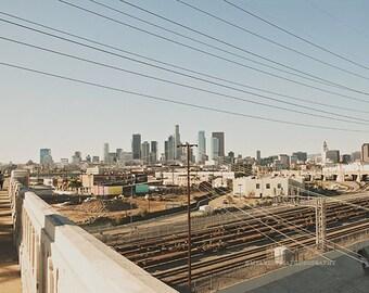 Los Angeles skyline photograph, downtown LA, Los Angeles wall art, Industrial, loft decor, DTLA art print, California artwork, landscape
