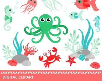 Sea creatures clipart - Seahorse - Fish - Octopus - Crab - Sea Anemone - Sea Urchin - Shell - Jellyfish - 300dpi JPEG and PNG