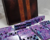 Purple Haze --- Hand Painted 28 Piece Professional Size Double Six Domino Set SPINNERS in Leatherette Storage Briefcase, instruction booklet