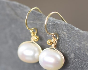 Valentine's Day gift White Pearl earrings june birthstone earrings gold filled wire wrapped earrings dangle earrings gifts for her
