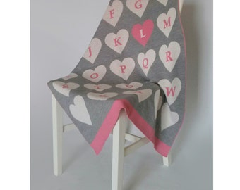 Personalized Alphabet Heart Knitted Blanket