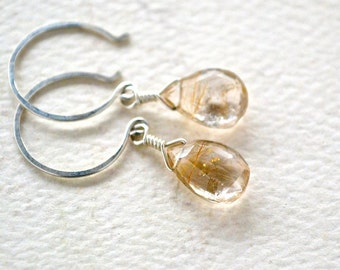 Shimmer Earrings - rutilated quartz gemstone earrings, gold needles, silver drops, gifts under 50, bridal jewelry, DE25