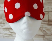 Red & White Polka Dot Eye Mask for Sleep or Travel and is Light Blocking ~ MADE TO ORDER
